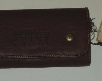 Brown Leather Organizer Wallet Clutch Purse Weather Point Credit Card Slots Checkbook ID Windows