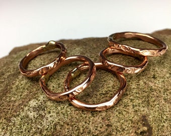 Copper Band Ring: textured