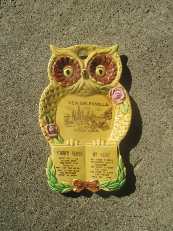 vintage 70\'s ceramic owl wall plaque with kitchen prayer