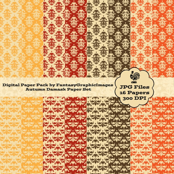 Autumn Thanksgiving Scrapbook Paper Cu Digital Pack 16 Damask