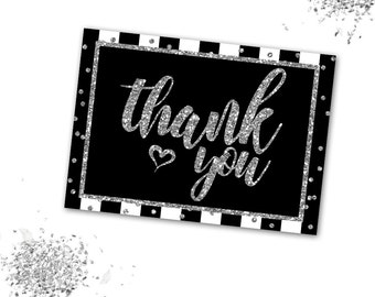 Black White and Silver Thank You Card, Printable Thank You Card, Instant download