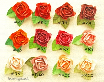 "Red hues set of 12 ""Fine"" Origami Rose magnets with individual gift bag / Party favor / petite gift / HQ Paper"