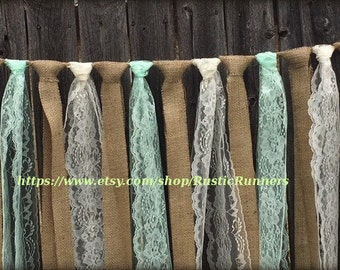 Rustic Charm Wedding Hanging Decor Burlap and Lace Garland Mint Green & Ivory Lace Swag Rag Tie Backdrop Curtain Shabby Chic hanging garland