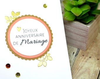 Handmade French Happy Anniversary Card - Anniversary Card in French - Anniversaire de Mariage Card - Hand stamped coral & gold embossed card