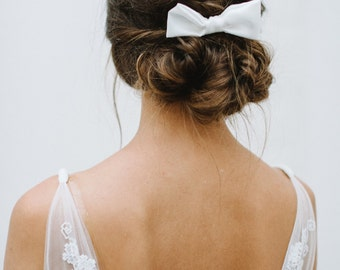 "Bridal accessory white hair bow  - ""Odette"""