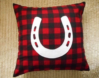 Horse Pillow Cover, Red and Black Buffalo Plaid, White Felt Horseshoe applique, Gift for Equestrians