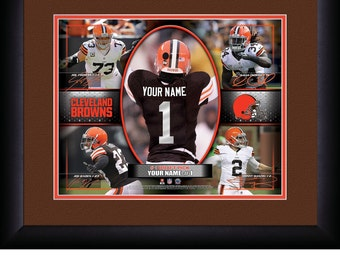 Cleveland Browns NFL Personalized Action Collage 15x18 MATTED and FRAMED