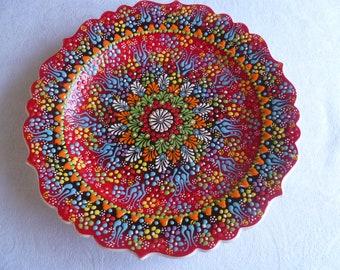 Turkish Ceramic Plate, 12 inch  platter, serving platter, red platter, primary colors, wall art, wedding gift