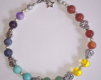 Chakra Stones Anklet Handmade by Reiki Master - Buddha and Star