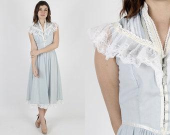 Gunne Sax Dress Prairie Dress Boho Dress Lace Dress Vintage 70s Jessica McClintock Light Blue Bridesmaid Floral Hippie 1970s Midi Maxi Dress