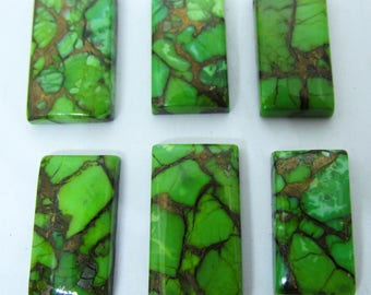 6 PC Natural Parrot Copper Turquoise Rectangle Shape Free Size Cabochon Stone 74.8 Carat