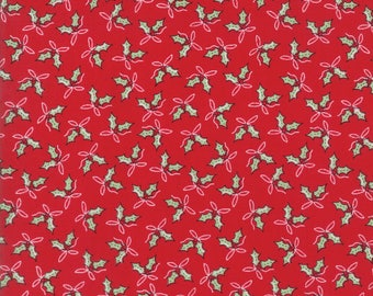 Sugar Plum Christmas Holly Trees Candy Red fabric by Bunny Hill Designs for Moda Fabric #2911-11