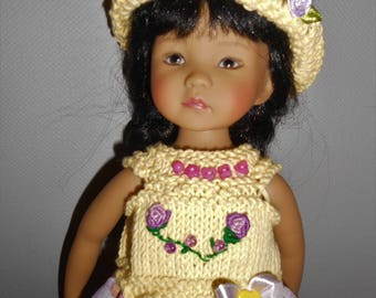 "Doll clothes Little darlings Dianna Effner, 33cm 14 ""- dress bimaterial yellow / purple + Hat"