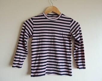 FREE SHIPPING - Vinatge MARIMEKKO pale pink and black soft top, 130 cm tall, girl's size