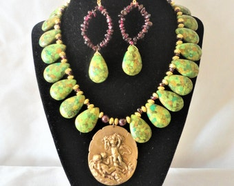 Flawless Green Turquoise Roman Inspired Necklace Set*****.