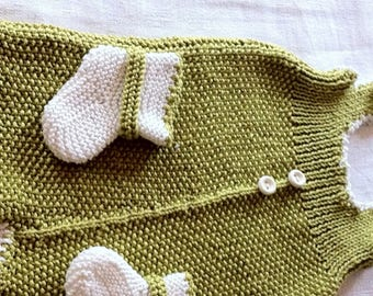 lime green cotton overalls, romper