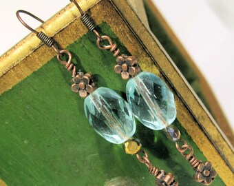 Copper Flower with Aqua Faceted Glass Victorian Earrings - Dangle - Downton Abbey Inspired - Great Gatsby
