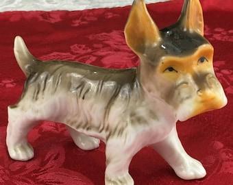 "Vintage Porcelain Scottish Terrier Dog Scotty Figurine 4 1/4"" Tall D22"