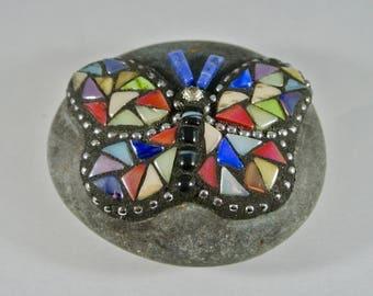 Mosaic Glass Butterfly Rock, Paperweight, Garden Stone
