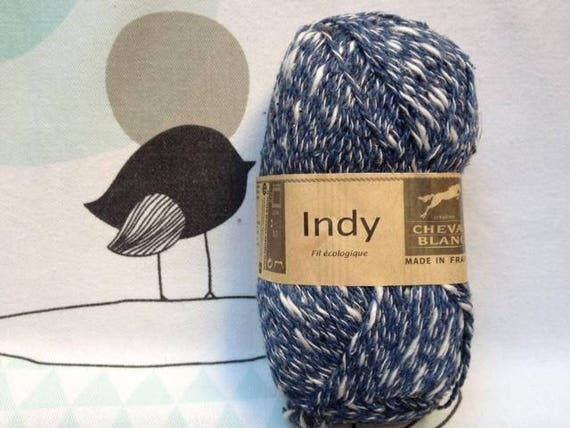 WOOL INDY blue Camaie - white horse