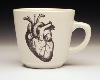 anatomical heart teacup, black heart, cardiologist gift, goth teacup, halloween dinnerware, corazon, horror fan gift, valentine's day heart