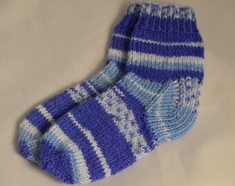 Blue Child Socks For Baby Hand Knit Socks Gift Baby Socks