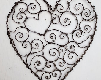 Burly Spirillian Barbed Wire Heart of Spirals For Your Valentine Garden Trellis