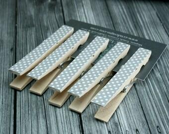 Gray Polka Dot Clothespin Magnets, Set of 5