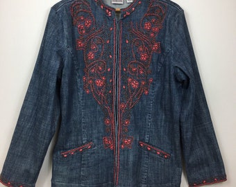 Denim Jacket, Boho Denim Jacket, Embroidered Jacket, Hippie Jacket, Festival Wear, Bohemian Jacket, Hippy Jacket, Ethnic Jacket