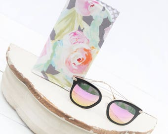 Zarte Blume grau Sonnenbrille Fall. Glas-Ärmel, monogrammiert Fällen für über große Gläser, Funky Sonnenbrille Fall, Travel Case, Sonnenbrillen Ärmel