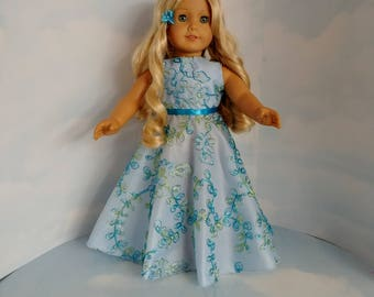 Blue and Gold Gown 18 inch doll clothes -  #210