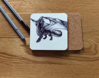 Dragon coaster -magical- mythical - beast- cork back-gift idea- teacher's gift - party favor- limited edition