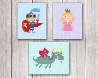 Fairy Tale Art (Set of 3) - 8x10 Baby Boy Nursery Art, Dragon Nursery, Nursery Decor, Nursery Wall Art, Princess Nursery Decor