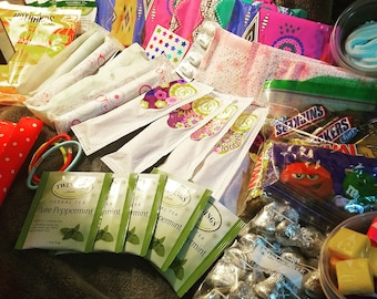 Deluxe Period Kit Package Shipped Right to Your Door Chocolate/ Wipes/ Tampons/ Pads/ Candy/ Information/ Medicine/ Tea. Video in Desc!!