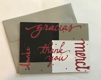 Multi-Language Handmade Thank You Card in Black, White, Grey and Red