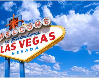 Welcome To Las Vegas Sign Poster Bright Red Letters Blue Sky Sunshine 24x36