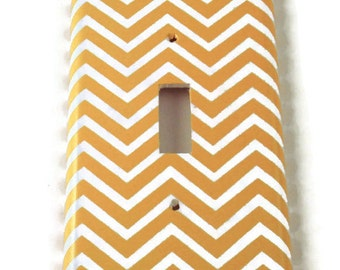 Switch Plate Light Switch Cover Wall Decor Light Switchplate  in Yellow Chevron (242S)