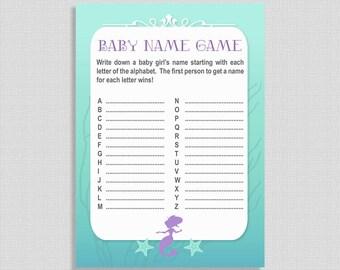 Mermaid Baby Name Game, Aqua & Purple Printable Shower Activity, A to Z Game, Mermaid Baby Shower Game, INSTANT DOWNLOAD