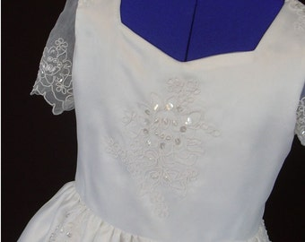 Communion Dress or Flower Girl Organza and Satin Beaded Pure White Size 8