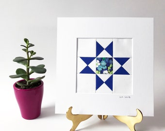 "Sapphire Ohio Star Quilt Block -- 8"" Matted -- Ready to Frame -- Housewarming Gift"