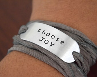 Choose Joy~Hand Stamped Ribbon Wrap Bracelet