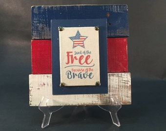 Patriotic Signs, 4th of July decor, patriotic pallets, 4th of July sign, Land of the free decor, Land of the Free Because of the Brave Decor