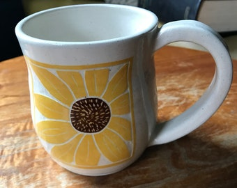 Hand carved, Sunflower mug