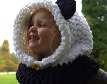 Chunky Hooded Panda Cowl  Crochet Hoodie, Chunky Crochet Hat, Panda Bear Hoodie, Animal Hat, Hooded Scarf