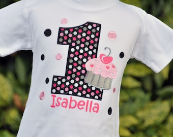 Cupcake Birthday Shirt - Cupcake Birthday Party - Personalized Shirt - Polka Dots - Girls Birthday Shirt - First Birthday - Cupcake Shirt