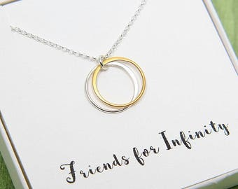 Friends Necklace, Friendship Necklace, Double Circles Necklace, Eternity Necklace, Two Gold Silver Ring Necklace, Friends Infinity Necklace
