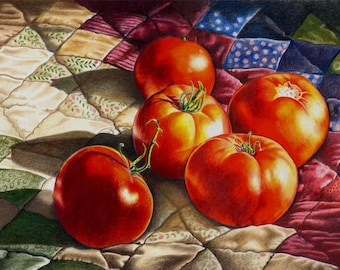 Colored Pencil Original Drawing of Tomatoes - 'From My Garden' by B Bruckner