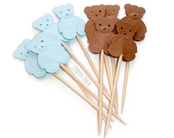 Mixed Baby Blue & Brown Teddy Bear Cupcake Toppers, Food Picks-Set of 24 pcs