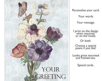 Anemones, Handmade greetings card, Birthday Card, Handmade Greeting Card, Anniversary Card, Artist's card, Handmade Card, Blank art card,