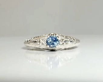 Montana Sapphire in Sterling Silver Filigree Ring / Unique Natural Blue Gemstone Engagement / See Video! / De Luna Gems / Free Shipping!